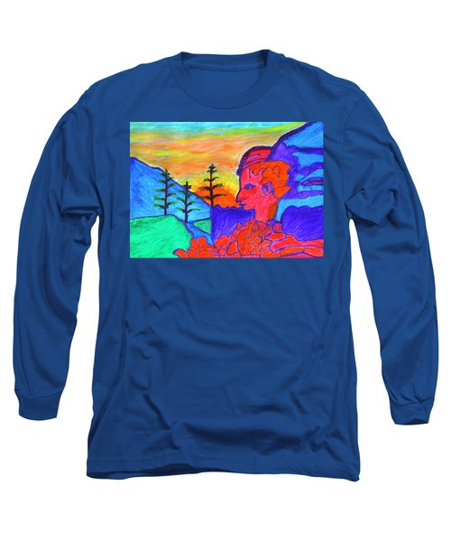 Mystical Rock With A Profile At Sunrise Long Sleeve T-Shirt