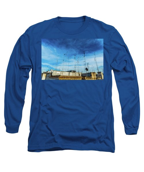 Old Buildings In The City Of Bari With Roofs Full Of Old Televis Long Sleeve T-Shirt