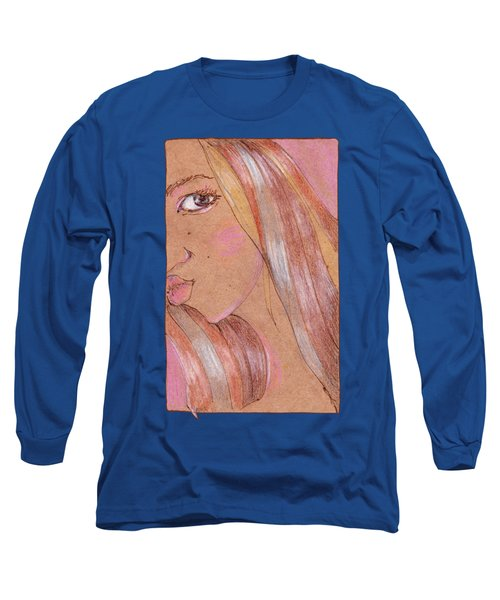 Portrait Of Girl On A Kraft Paper Long Sleeve T-Shirt