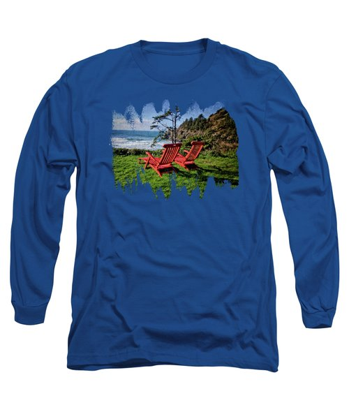 Red Chairs At Agate Beach Long Sleeve T-Shirt