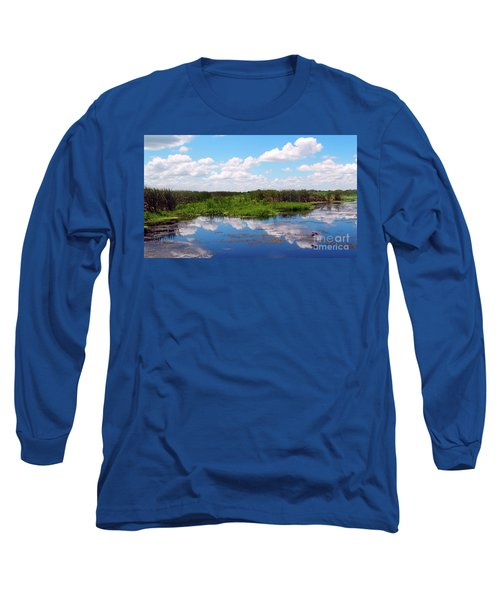 Skyscape Reflections Blue Cypress Marsh Near Vero Beach Florida C6 Long Sleeve T-Shirt