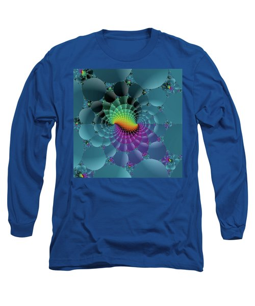 Slate Blue Fractal Long Sleeve T-Shirt