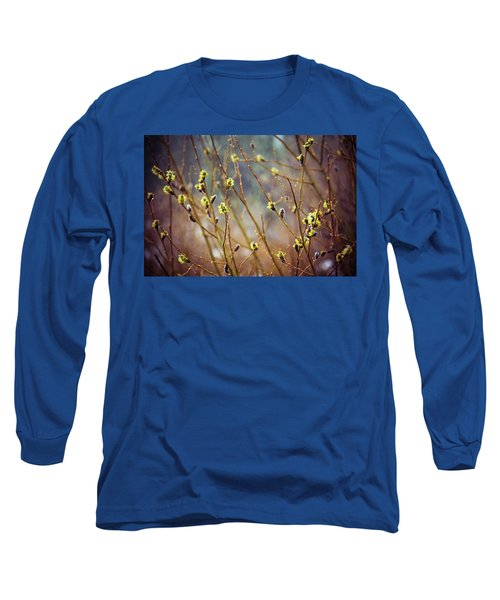 Snowfall On Budding Willows Long Sleeve T-Shirt