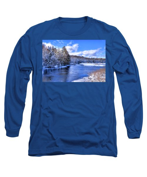 Long Sleeve T-Shirt featuring the photograph Snowy Banks Of The Moose River by David Patterson
