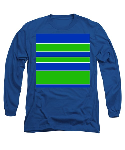 Stacked - Navy, White, And Lime Green Long Sleeve T-Shirt