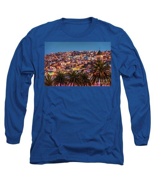 Valparaiso Illuminated At Night Long Sleeve T-Shirt