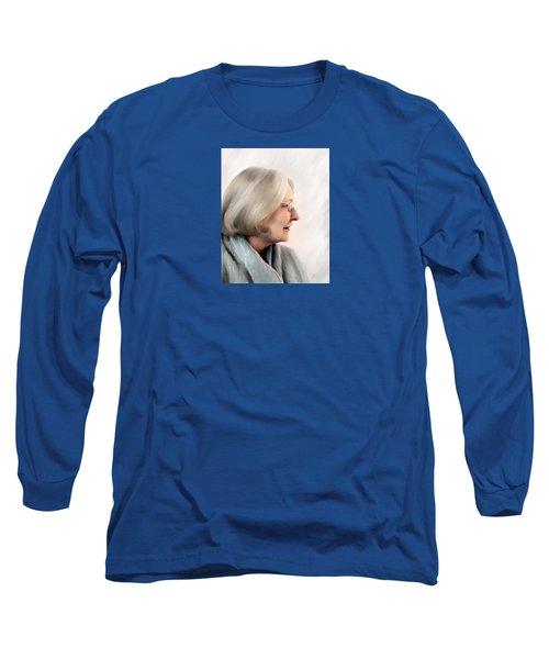 Woman In Grey Long Sleeve T-Shirt