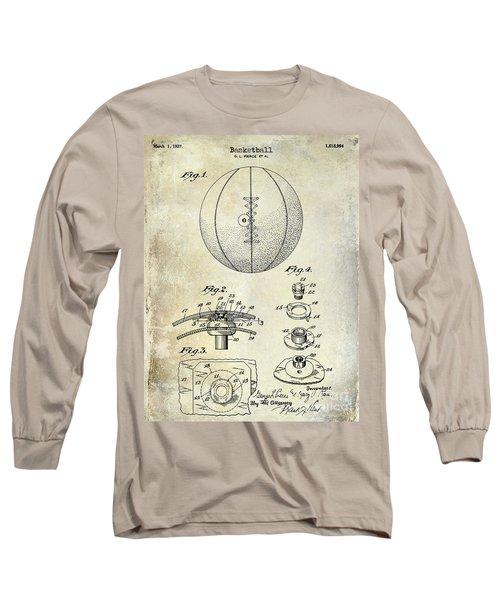 1927 Basketball Patent Drawing Long Sleeve T-Shirt by Jon Neidert