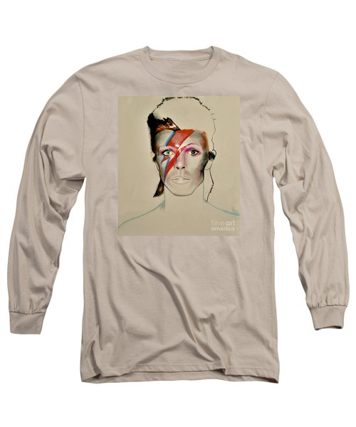 Long Sleeve T-Shirt featuring the drawing David Bowie by Maja Sokolowska