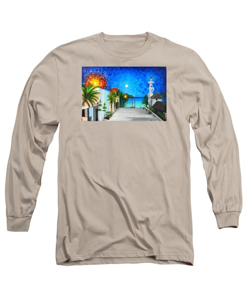 Light House Playa Del Carmen Long Sleeve T-Shirt by Angel Ortiz
