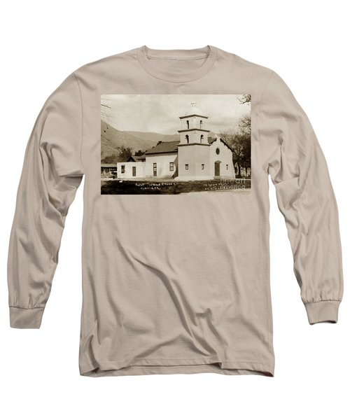 Long Sleeve T-Shirt featuring the photograph  St. Thomas Aquinas Catholic Church  Ojai Cal 1920 by California Views Mr Pat Hathaway Archives