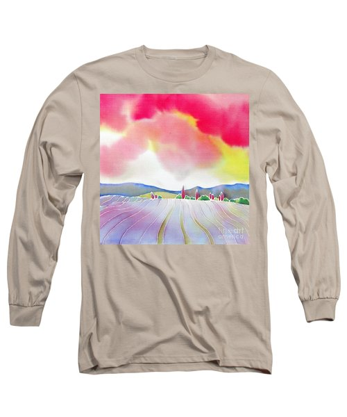 Sunset On The Lavender Farm Long Sleeve T-Shirt