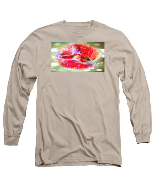 The Flowers Of Fiery Red In Abstract Concept  Long Sleeve T-Shirt