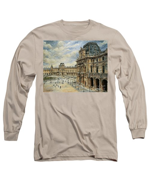 The Louvre Museum Long Sleeve T-Shirt by Joey Agbayani