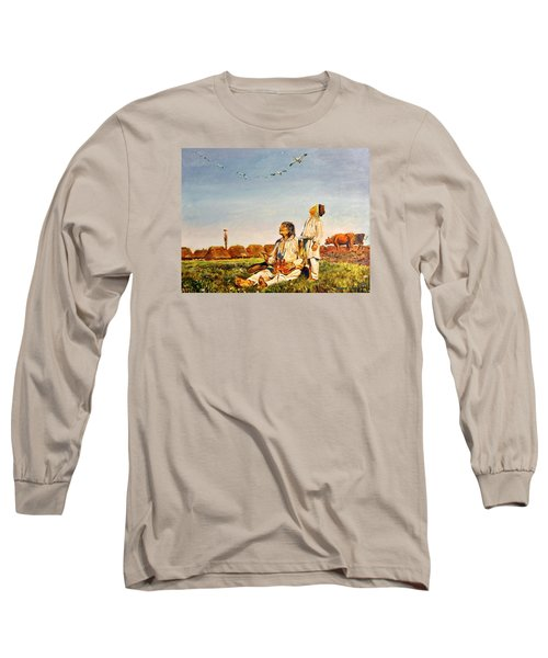 Long Sleeve T-Shirt featuring the painting End Of The Summer- The Storks by Henryk Gorecki