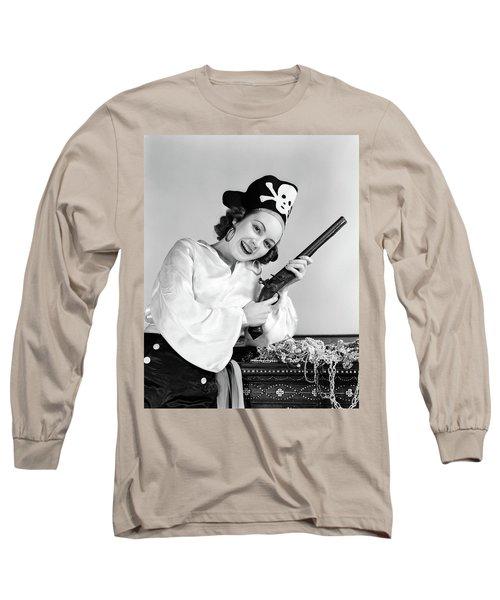 1940s Woman Wearing Pirate Costume Long Sleeve T-Shirt