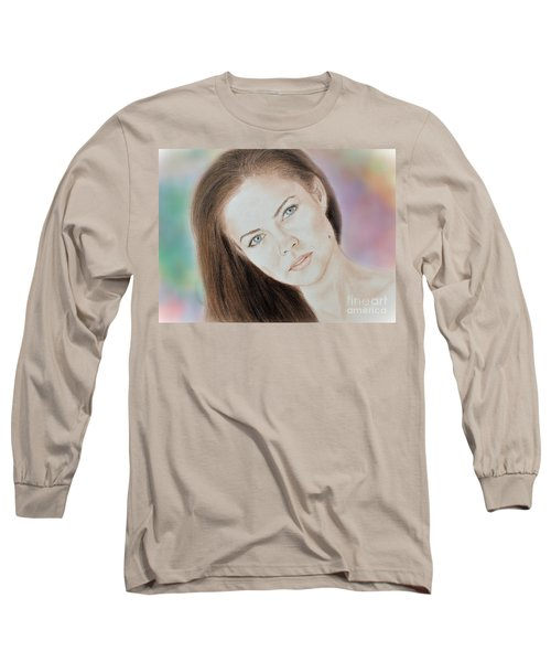 Actress And Model Susan Ward Blue Eyed Beauty With A Mole Long Sleeve T-Shirt by Jim Fitzpatrick