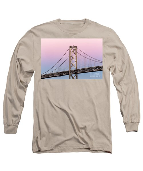Long Sleeve T-Shirt featuring the photograph Bay Bridge Lights At Sunset by Kate Brown
