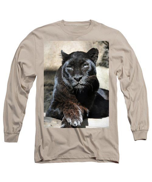 Black Leopard Long Sleeve T-Shirt by Savannah Gibbs