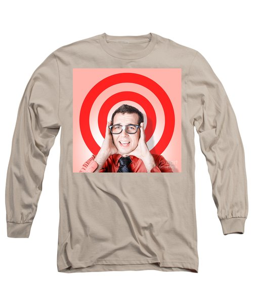 Business Man In Fear On Target Background Long Sleeve T-Shirt
