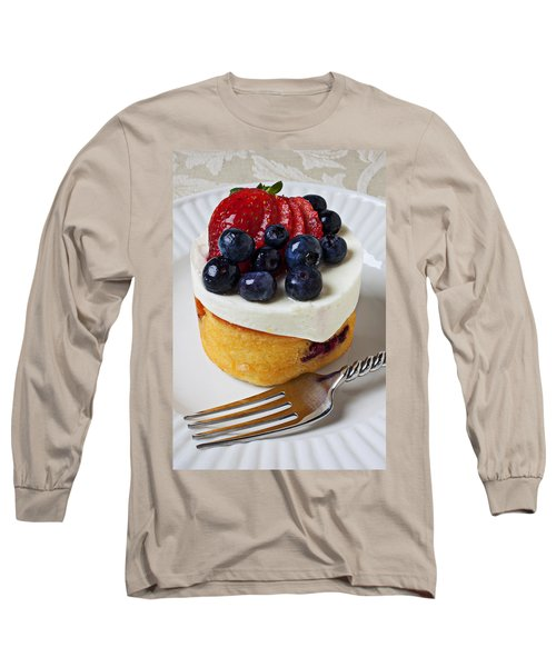 Cheese Cream Cake With Fruit Long Sleeve T-Shirt by Garry Gay