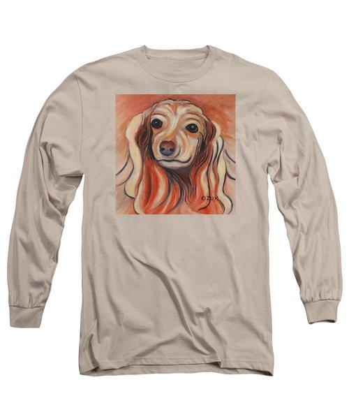 Long Sleeve T-Shirt featuring the painting Daschound by Karen Zuk Rosenblatt