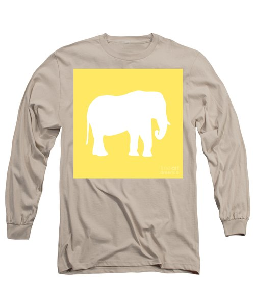 Elephant In Yellow And White Long Sleeve T-Shirt