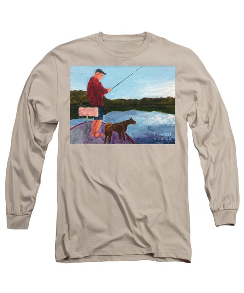 Long Sleeve T-Shirt featuring the painting Fishing by Donald J Ryker III