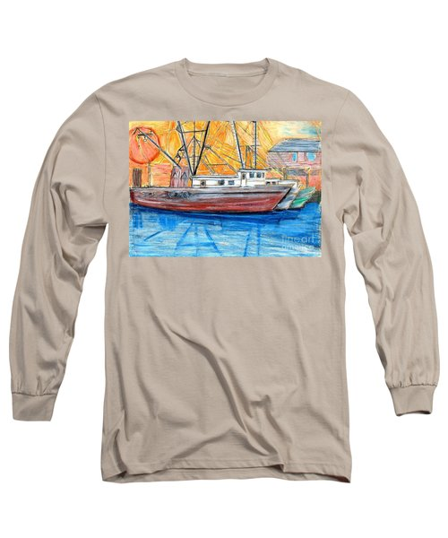 Long Sleeve T-Shirt featuring the drawing Fishing Trawler by Eric  Schiabor