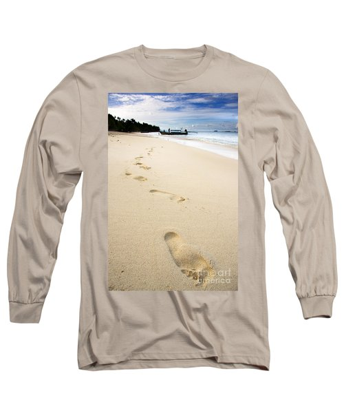 Footprints On Tropical Beach Long Sleeve T-Shirt