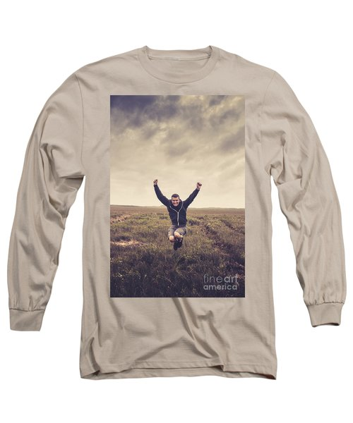 Holiday Man Jumping On Rural Australia Landscape Long Sleeve T-Shirt