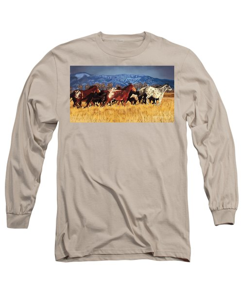 Long Sleeve T-Shirt featuring the painting Joe's Horses by Tim Gilliland