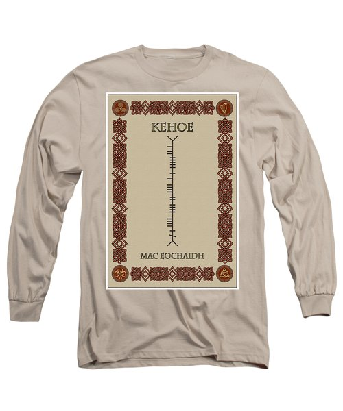 Long Sleeve T-Shirt featuring the digital art Kehoe Written In Ogham by Ireland Calling