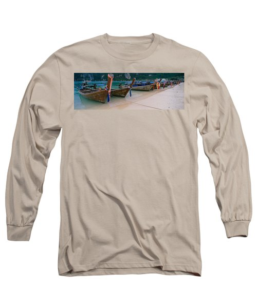 Longtail Boats Moored On The Beach Long Sleeve T-Shirt