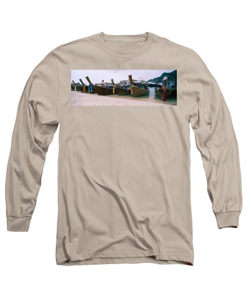 Longtail Boats Moored On The Beach, Ton Long Sleeve T-Shirt