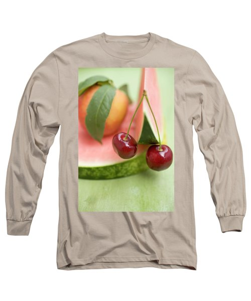 Nectarine With Leaves, Watermelon And Cherries Long Sleeve T-Shirt