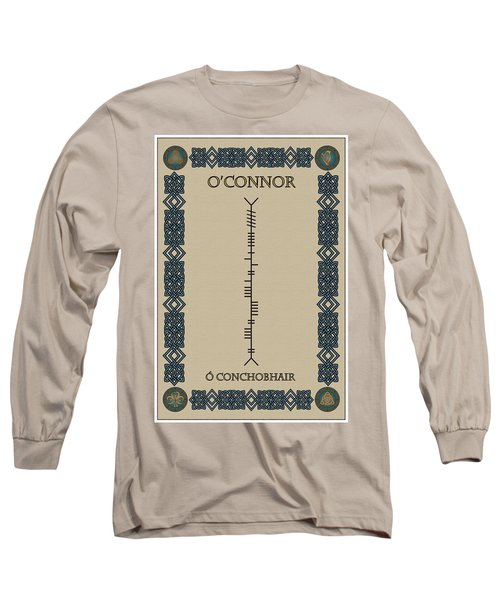 Long Sleeve T-Shirt featuring the digital art O'connor Written In Ogham by Ireland Calling