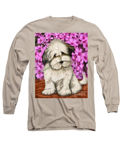 Long Sleeve T-Shirt featuring the painting Puppy In The Flowers by Tim Gilliland