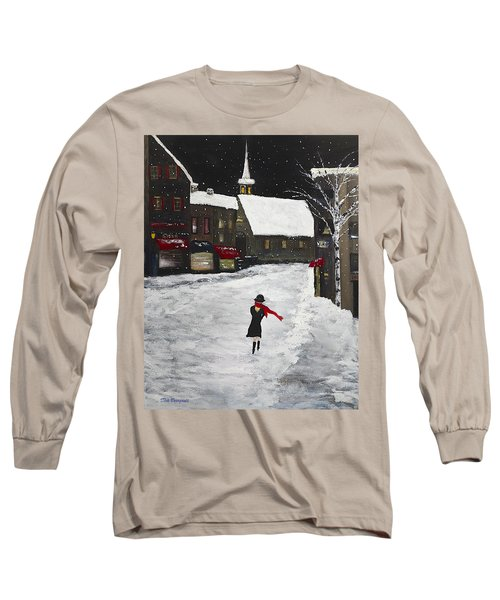 Red Scarf Winter Scene Long Sleeve T-Shirt by Dick Bourgault