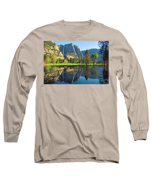 Reflections Of Yosemite Falls Long Sleeve T-Shirt