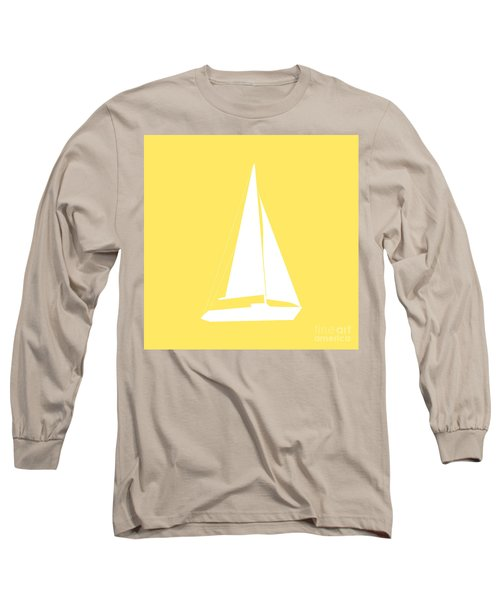 Sailboat In Yellow And White Long Sleeve T-Shirt