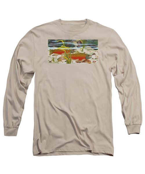 Salmon Long Sleeve T-Shirt by Katherine Young-Beck