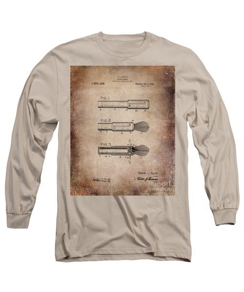 Shaving Brush Diagram 1920  Long Sleeve T-Shirt by Lesa Fine