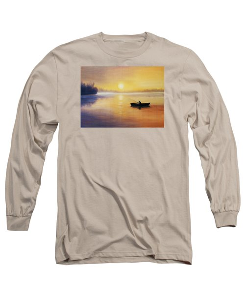 Long Sleeve T-Shirt featuring the painting Silence by Vesna Martinjak
