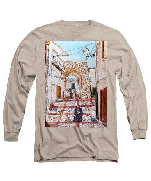 Long Sleeve T-Shirt featuring the painting Sutera Rabato Antico by Loredana Messina