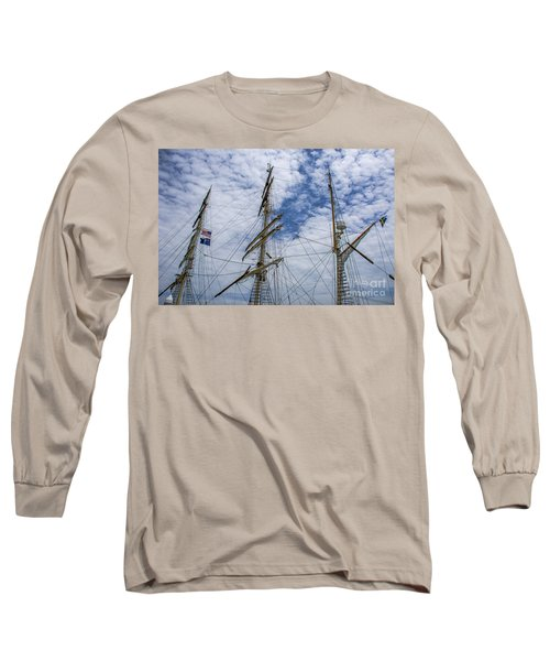 Tall Ship Three Mast  Long Sleeve T-Shirt by Dale Powell
