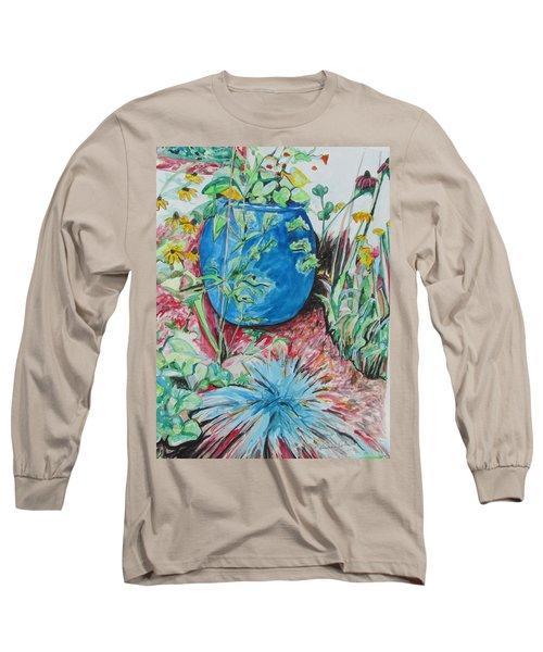 The Blue Flower Pot Long Sleeve T-Shirt by Esther Newman-Cohen