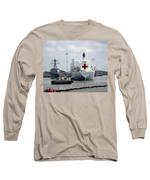 Us Naval Hospital Ship Comfort Long Sleeve T-Shirt by Richard Rosenshein
