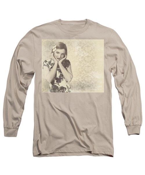 Vintage Photograph Of A Vintage Hollywood Actress Long Sleeve T-Shirt
