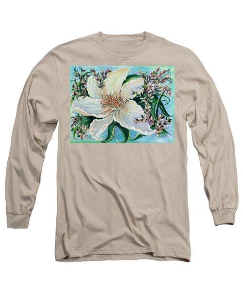 White Lily Long Sleeve T-Shirt by Yolanda Rodriguez